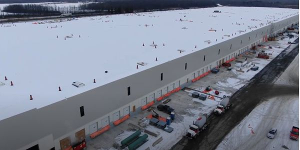 Aerial view of Amazon's one-million square foot distribution center in Ottawa, Ontario.