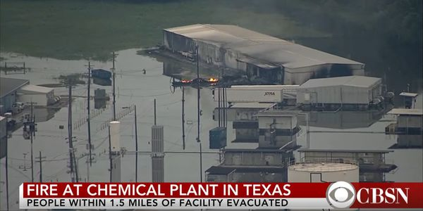 Fire erupted at Arkema Chemical in Texas in 2017 when flooding caused chemicals to decompose and...