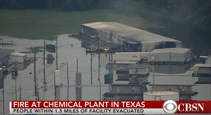 Fire erupted at Arkema Chemical in Texas in 2017 when flooding caused chemicals to decompose and ignite. - Screencapture Via CBSN