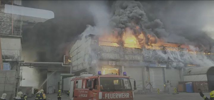 A fuel fire at a cement plant in Austria Sunday spread by means of the conveyor belt. - Screencapture Via YouTube