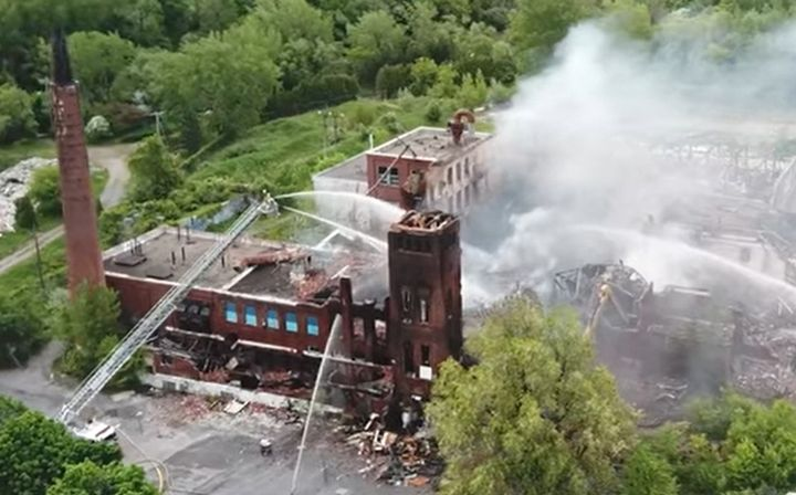 Historic Canadian printing plant slowly erased by series of arson fires. - Screencapture Via YouTube
