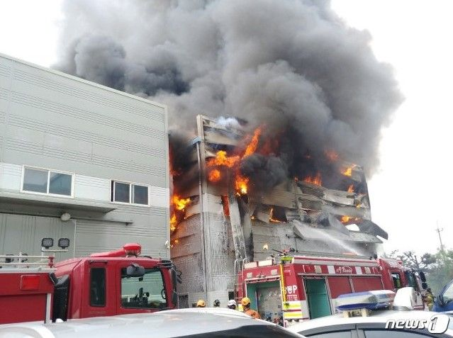 Shoe warehouse burning in Busan, South Korea, Saturday. - Photo Courtesy of Regional Busan Police Agency