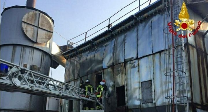 A silo fire broke out at an abandoned factory in Capriva del Friuli, Italy, Saturday. - Photo Courtesy of Gorizia Vigili del Fuoco