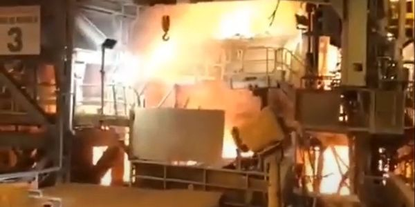 Fire broke out at a copper smelter near Antofagasta, Chile, during an earthquake Wednesday.
