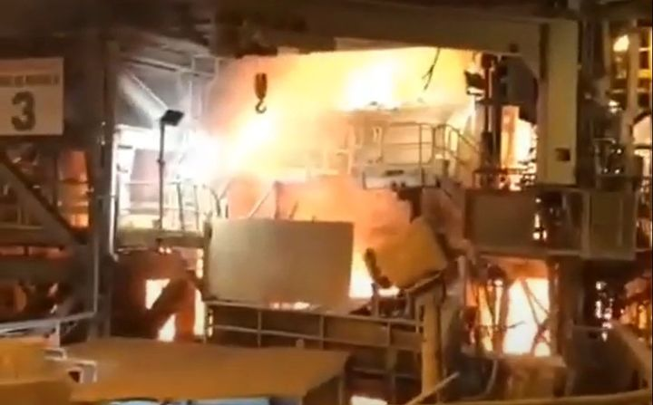 Fire broke out at a copper smelter near Antofagasta, Chile, during an earthquake Wednesday. - Screencapture Via YouTube