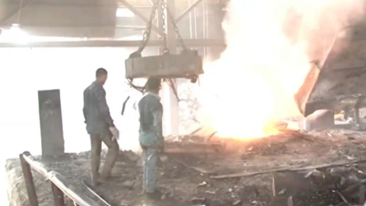 Steel mill operating in Bangladesh. - Screencapture Via YouTube
