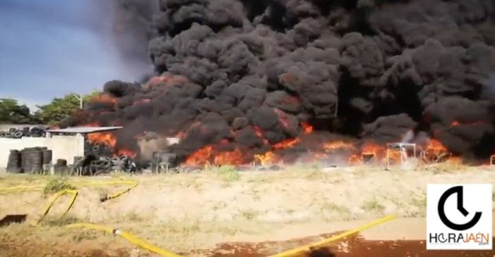 Rubber recycling plant burns in Spain Saturday. - Screencapture Via YouTube