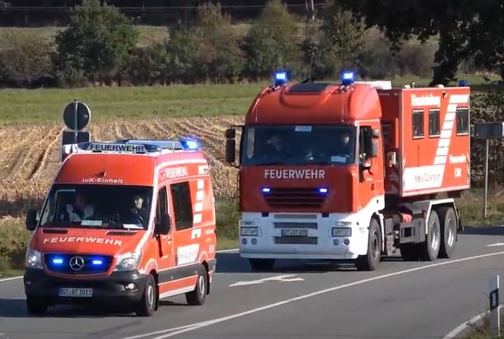 German firefighters traveling to an emergency. - Screencapture Via YouTube