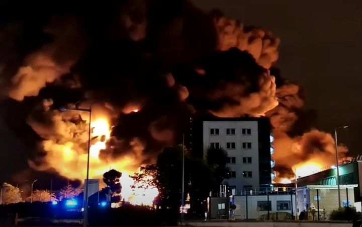 A massive fire in September destroyed more than 9,500 tons of chemicals. - Screencapture Via YouTube