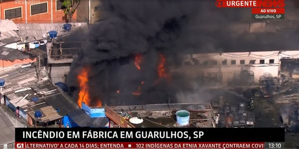 Aerial view of a burning chemical complex in Guarulhos, Brazil, Monday.