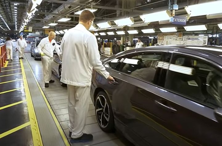 Assembly line at a Honda Motors plant. - Screencapture Via YouTube