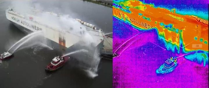 Thermal imaging reveals the extent of burning below deck during a cargo ship fire in Florida. - Photo courtesy of Jacksonville Fire and Rescue Department