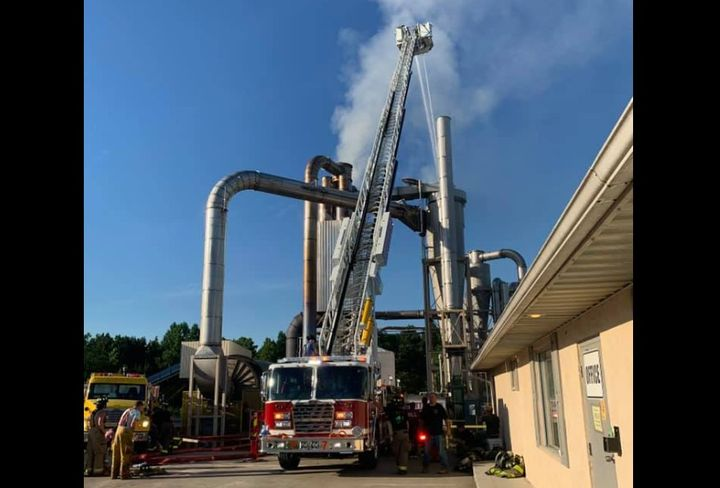 Sawdust ignited throughout the duct system at Virginia wood pellet plant Sunday. - Photo Courtesy of Kenbridge Fire Department