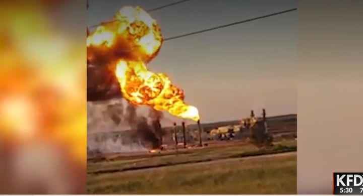 An explosion disrupted operations at a natural gas plant near Snyder, Texas, Tuesday. - Screencapture Via KFDX