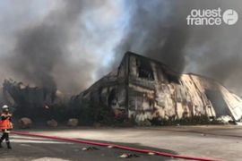 Flames Consume Plastics Plant in Northwestern France