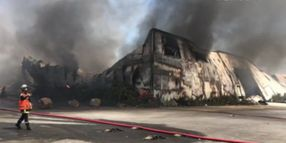 Flames Consume Plastics Plant in Northwestern France
