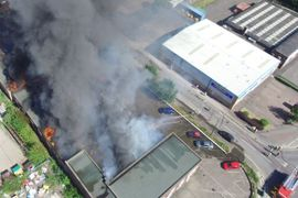 Industrial Equipment Plant Ablaze in England's East Midlands