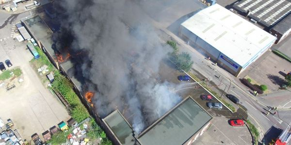 Drone video shows factory fire in UK Tuesday.