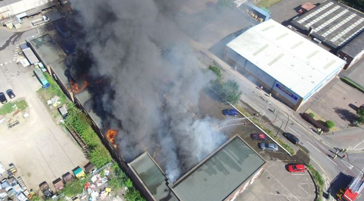 Drone video shows factory fire in UK Tuesday. - Photo courtesy of Lincolnshire Police