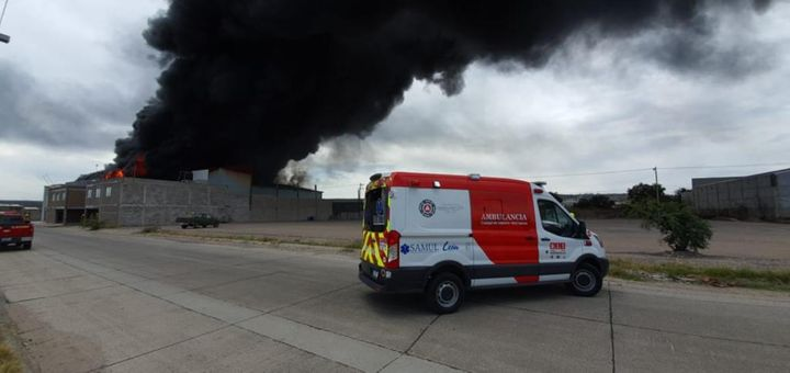 A dense plume of smoke rises from a burning chemical plant in northwest Spain Wednesday. - Photo courtesy of Proteccion Civil