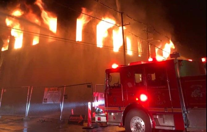 A vacant warehouse goes up in flames Friday in Louisville, Kentucky. - Photo courtesy Louisville Division of Fire