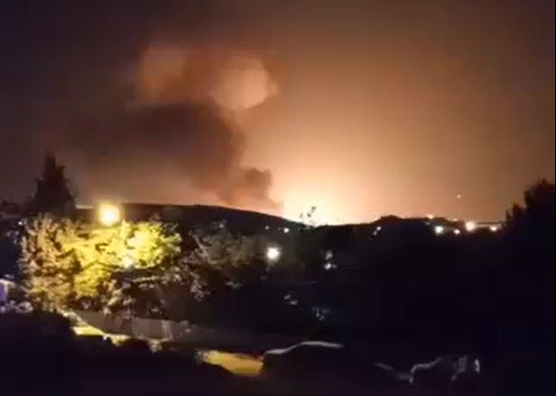 Explosion near Tehran Friday linked to munitions plant nearby. - Screencapture Via Twitter