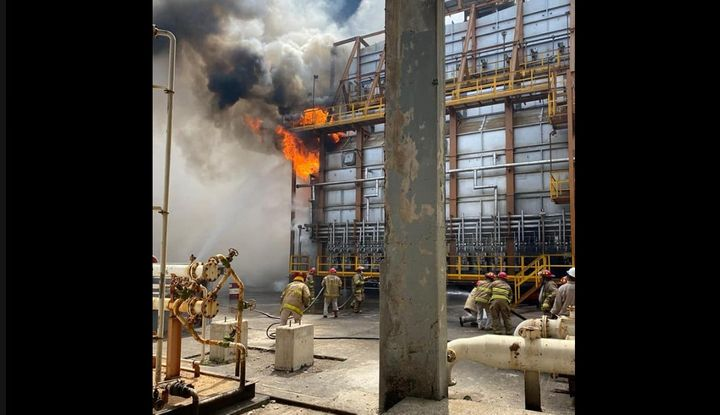 Flames break out at the PEMEX refinery in Salina Cruz, Mexico, at a 7.4 magnitude earthquake Tuesday. - Photo Courtesy of PEMEX