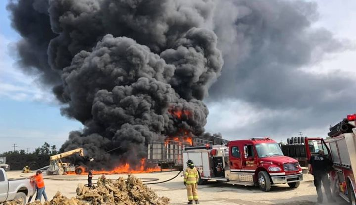 Flammable drainage tile goes up in smoke at a factory in Bethany, Missouri, Thursday. - Photo Courtesy of Bethany Police