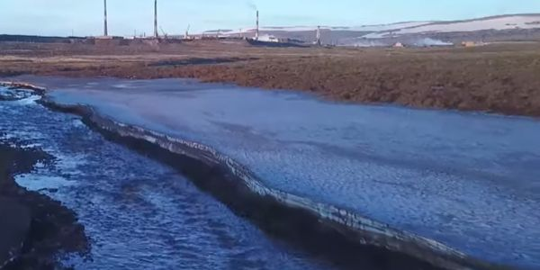 Spilled diesel pollutes the Ambarnaya River in Siberia.