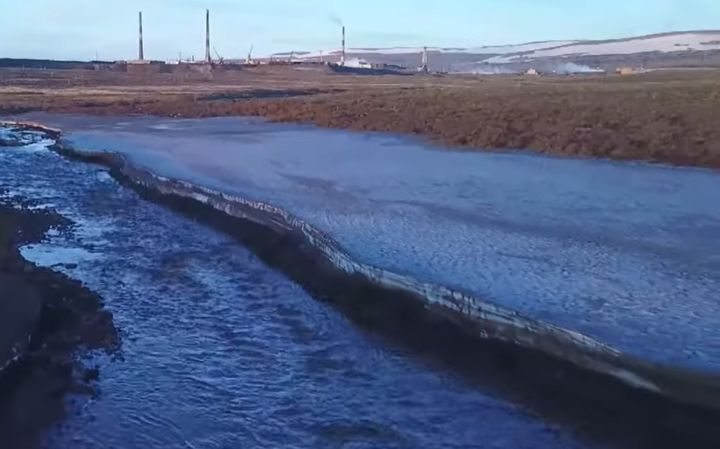 Spilled diesel pollutes the Ambarnaya River in Siberia. - Screencapture Via RT