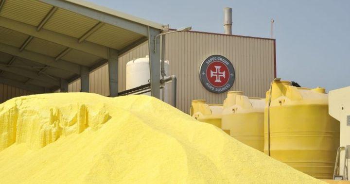 Sulfur stacked outside the Sapec Agro facility in Setubal, Portugal. - Photo courtesy of Sapec Agro