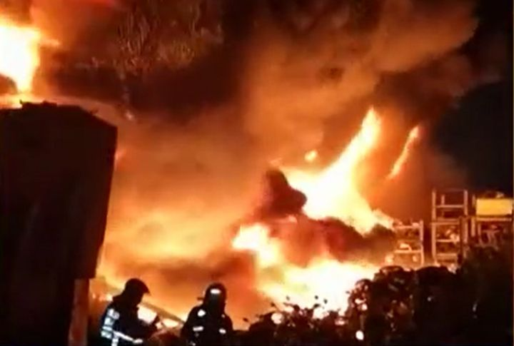 Flames spread through multiple factories Friday night in New Taipei City, Taiwan. - Screencapture Via TVBS