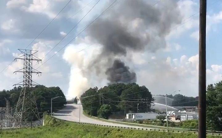 Thick smoke rises from a chemical plant burning near Atlanta, Georgia, Friday. - Screencapture Via WSB TV