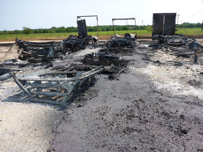 Burned out shell of storage trailers destroyed at Arkema Chemical during Hurricane Harvey. - Photo courtesy of Chemical Safety Board