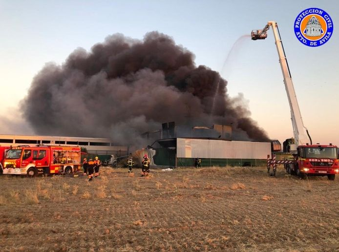 The early hours of a fire that consumed a paint factory in San Pedro del Arroyo, Spain, this weekend. - Photo courtesy of Proteccion Civil Avila
