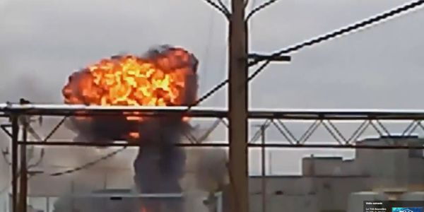 An explosion in an electrical transformer spread flames though a vegetable oil plant in Canada...