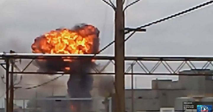 An explosion in an electrical transformer spread flames though a vegetable oil plant in Canada Monday. - Screencapture Via TVA Nouvelles