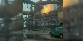 Blast Furnace Explodes at Steel Mill on Lake Michigan