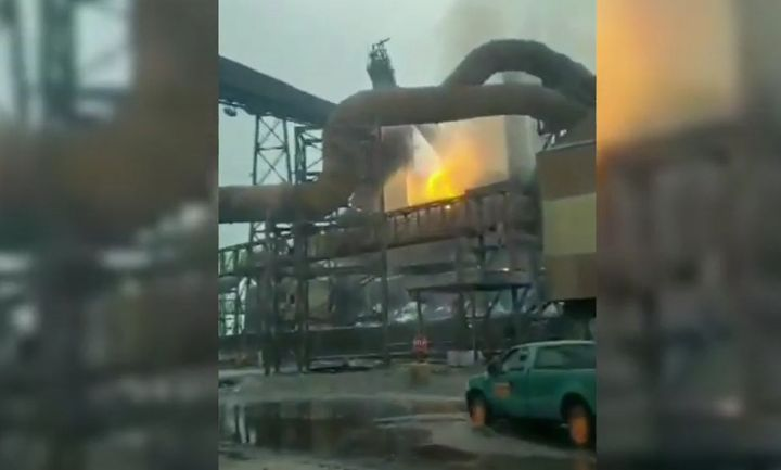 Flames followed a blast furnace explosion Thursday at an Indiana steel mill. - Screencapture Via YouTube