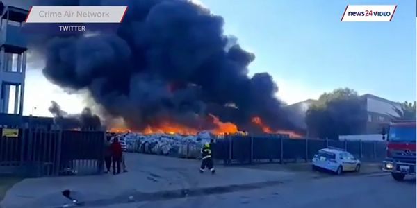 Five fire stations were involved in extinguishing a recycling plant fire in South Africa Sunday.