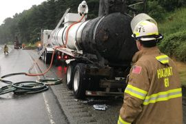 Fire Scorches Tanker Trailer Transporting Bleach