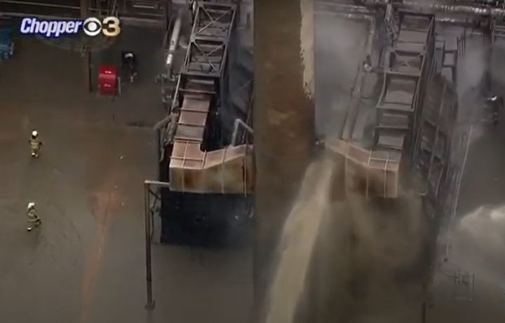 Aerial view of firefighters delivering water during a March 2020 refinery fire in Delaware. - Screencapture Via KYW-TV