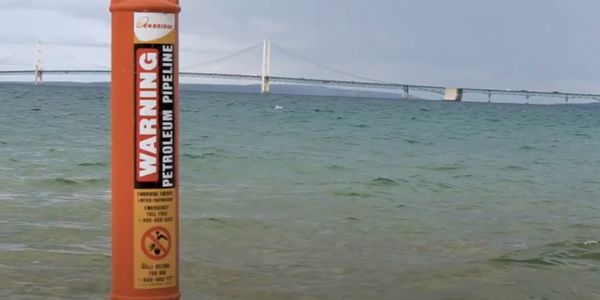 Marker warning about the Enbridge pipeline running beneath the Straits of Mackinac in Michigan.