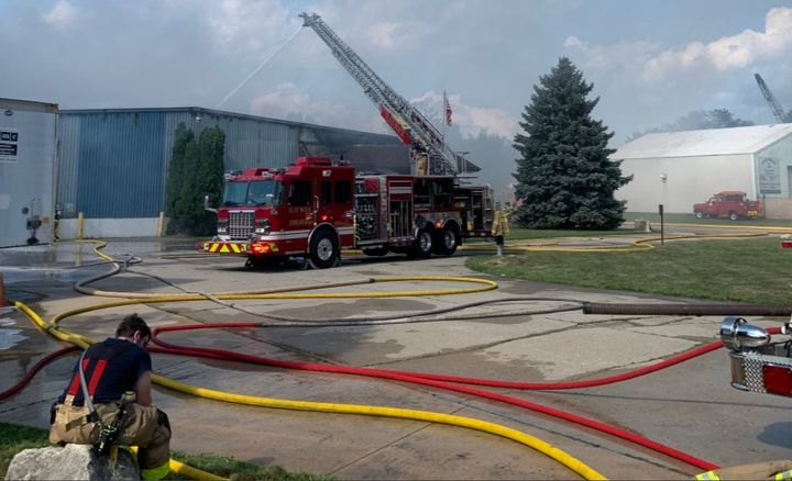 Firefighter respond to a chemical plant fire in Michigan Wednesday. - Courtesy of Flat Rock Fire Department