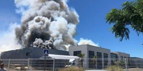 Flames Destroy Industrial Warehouse in Southern France