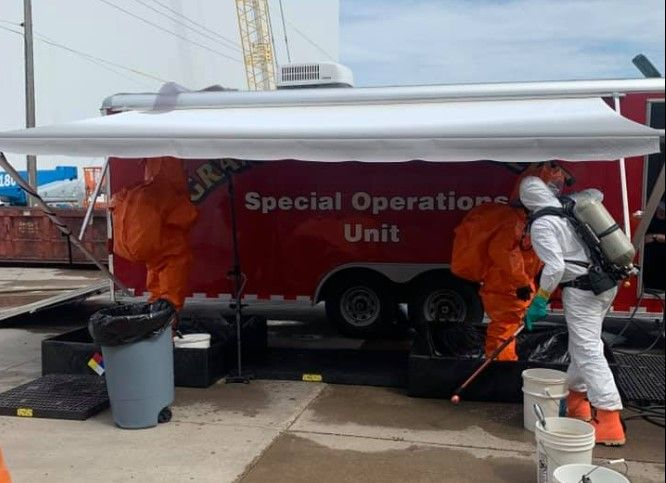 Grand Forks firefighters break out the hazmat response vehicle for an ammonia leak at a food processing plant. - Photo Courtesy of Grand Forks Fire Department