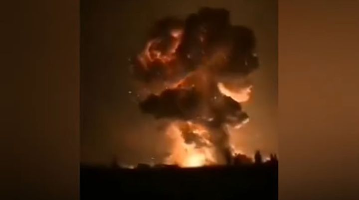 A fireball rises from the Jinyan fireworks factory in Guanghan, China, Wednesday. - Screencapture Via YouTube