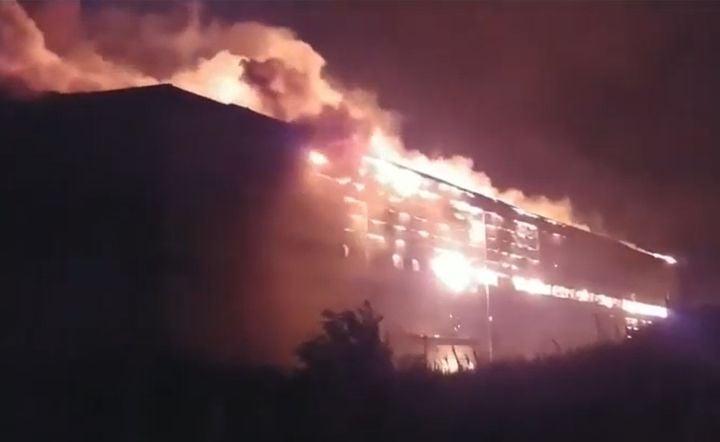 A blazing warehouse in Gunsan City, South Korea, took seven days to extinguish. - Screencapture Via KBS