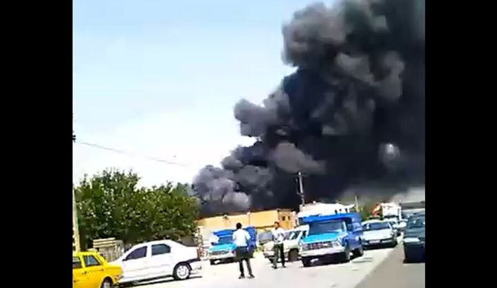 Factory fire Sunday in Sheikh Hassan southwest of Tabriz in Iran. - Screencapture Via Twitter
