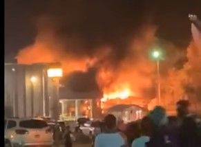 A boiler room fire erupts at a poultry processing plant Thursday in Arkansas. - Screencapture Via KATV